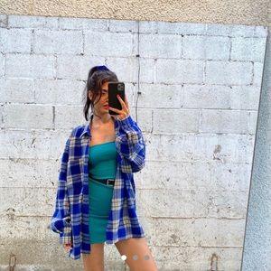 Vintage Flannel Blue/White/Tan Plaid